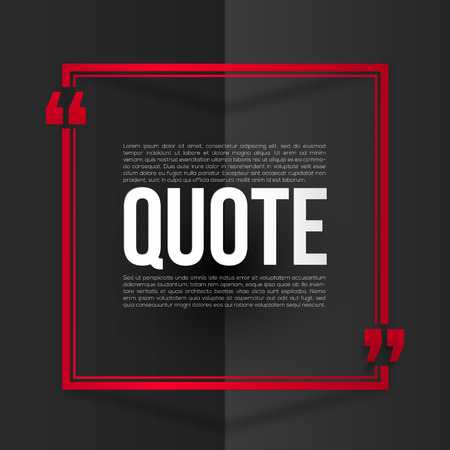 placeholder: Red vector quote frame with white placeholder text at black folded paper background