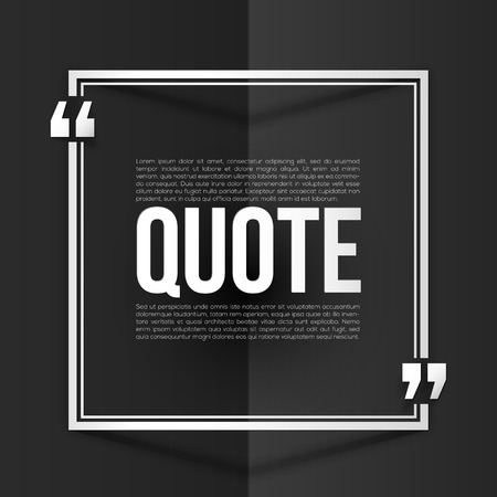 inverted: White vector quote frame with placeholder text at black folded paper background Illustration