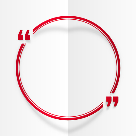 design template: Red round vector quote frame at white folded paper background