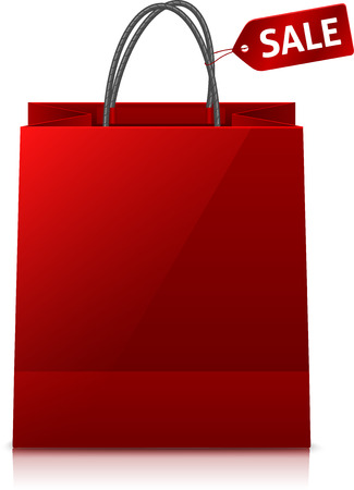 glance: Red glance vector shopping bag with sale tag