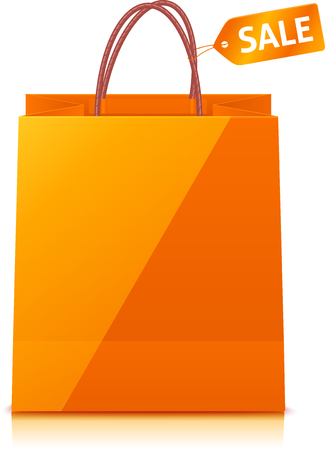shopping bag: Orange vector shopping bag isolated on white background