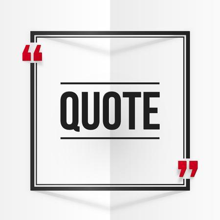 Citation cadre vecteur carré noir et rouge au blanc plié fond de papier Banque d'images - 46368464