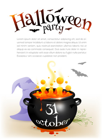 sign orange: Black witches cauldron with orange brew and Halloween date sign, vector poster template Illustration