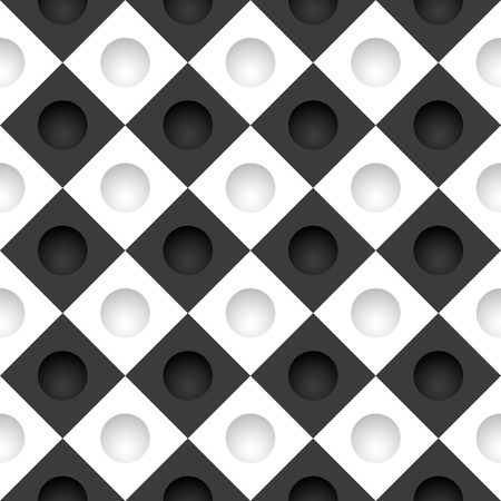 deepening: Vector black and white grid with round holes