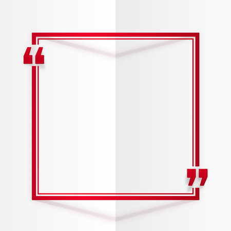 folded paper: Red square vector quote frame at white folded paper background Illustration