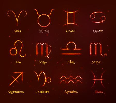 shining light: Red shining light cosmic zodiac signs vector set