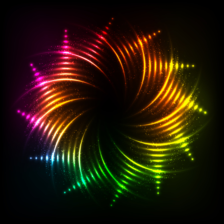 circl: Vector abstract rainbow neon spirals vector cosmic frame