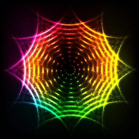 swastik: Vector abstract rainbow neon spirals vector cosmic circle