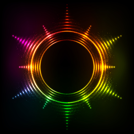 circl: Vector abstract rainbow neon spirals vector cosmic star frame Illustration