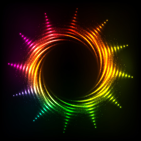 swastik: Vector abstract rainbow neon spirals vector cosmic sun frame