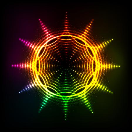 Vector abstract rainbow neon spirals vector cosmic sun Illustration