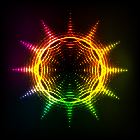 swastik: Vector abstract rainbow neon spirals vector cosmic sun Illustration