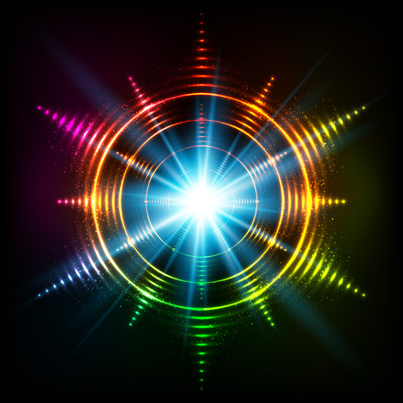 circl: Vector abstract rainbow neon spirals vector cosmic star Illustration