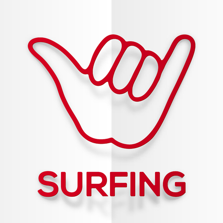 surfers: Vector paper silhouette red surfers shaka symbol with realistic shadow Illustration