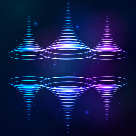 security system: Vector sound shining cones at cosmic background Illustration