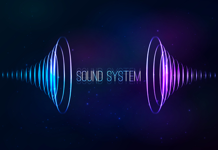 Vector sound shining cones at cosmic background Illustration