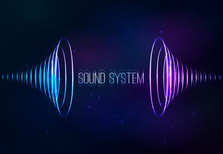 sonido: Sonido vector conos en el fondo cósmico brillante Vectores
