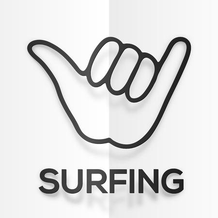 Vector papier silhouette symbole surfeurs noir de shaka avec des ombres réalistes