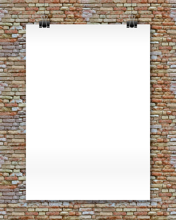stone wall: White vector poster mockup at stylized bricks wall