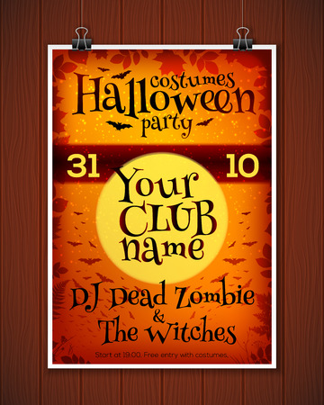 costume party: Bright orange Halloween costume party vector poster template Illustration