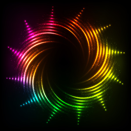 swastik: Vector abstract rainbow neon spirals vector cosmic frame