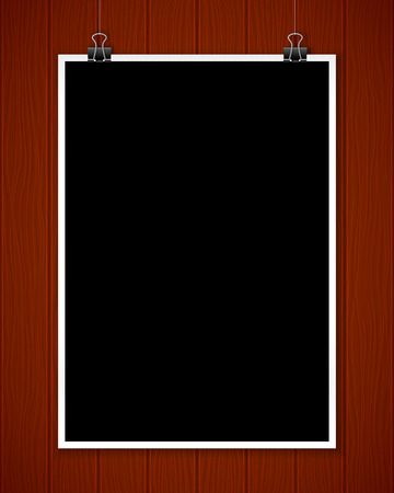 textured wall: Black poster mockup on wooden textured wall, vector illustration