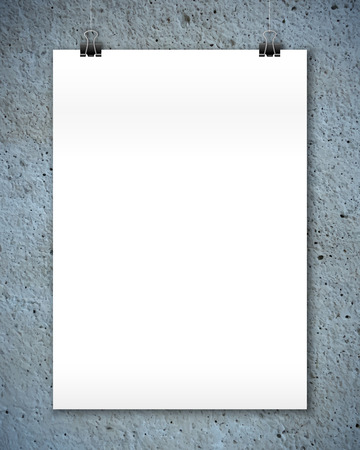 a3: White vector poster mockup at stylized concrete texture wall