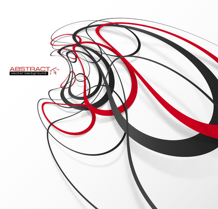 Abstract red and black lines with shadows, modern vector perspective background