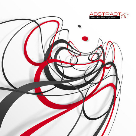 white color: Abstract red and black lines with shadows, modern vector perspective background