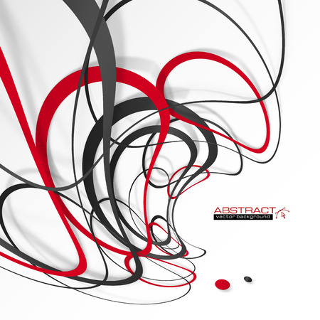 red and white: Abstract red and black lines with shadows, modern vector perspective background