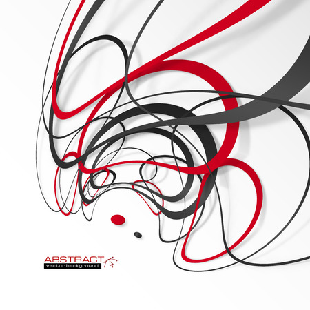 black circle: Abstract red and black lines with shadows, modern vector perspective background
