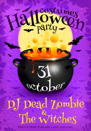 brew: Bright purple vector Halloween party poster template with orange witches brew in cauldron, moon and bats