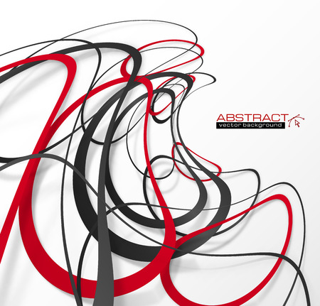 smooth: Abstract red and black lines with shadows, modern vector perspective background