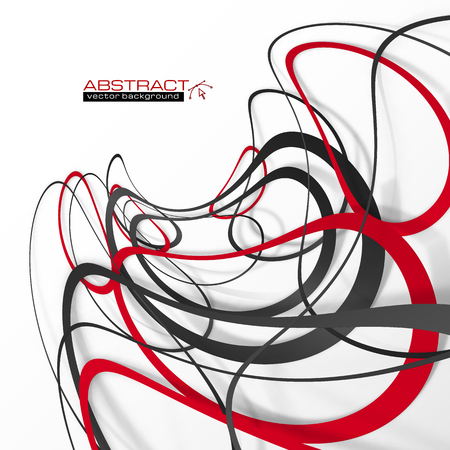 black shadows: Abstract red and black lines with shadows Illustration