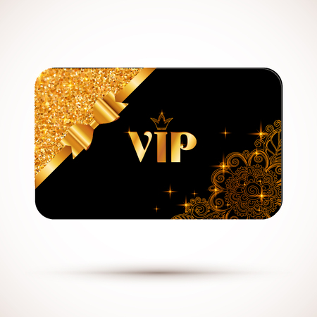 Black vip card vector template with glitter effect and golden bow