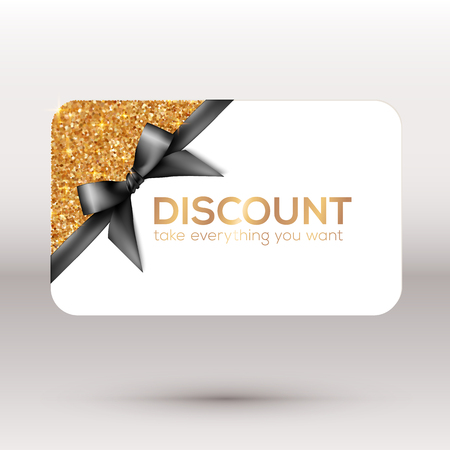 Golden vector discount card with black ribbon and bow Illustration