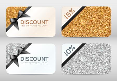 Reeks gouden en zilveren glitter vector kortingskaarten sjablonen met zwarte linten Stock Illustratie