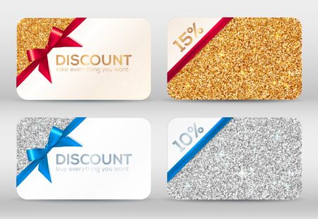 golden ribbons: Set of golden and silver glitter vector discount cards templates with red and blue ribbons Illustration