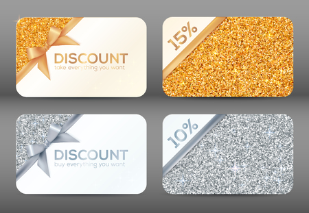 gold silver: Set of golden and silver glitter white vector discount cards templates Illustration