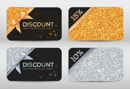 silver metal: Set of golden and silver glitter black vector discount cards templates Illustration