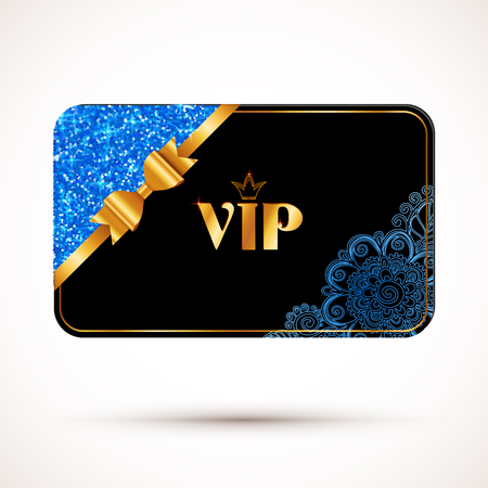 royal black background: Black vip card vector template with blue glitter, floral ornament and golden bow