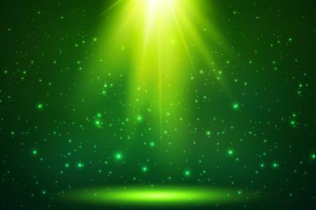 水平のグリーン マジック トップ光ベクトルの背景