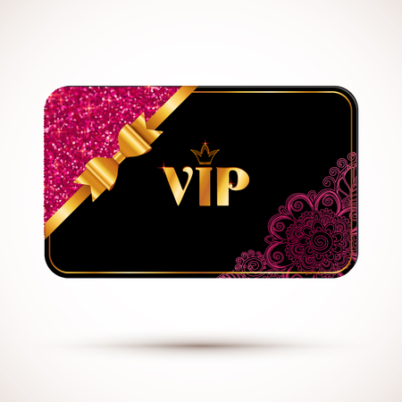 Black vip card vector template with pink glitter effect and golden bow Vectores