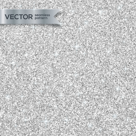 Shining silver glitter texture vector seamless pattern Stock Illustratie