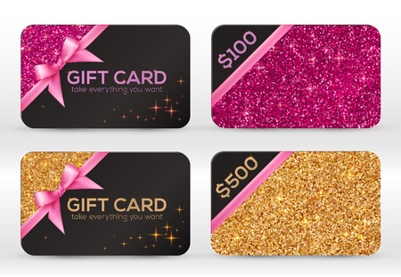 Set of golden and pink glitter vector black gift cards templates Çizim