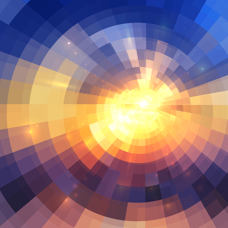 Colorful concentric shining mosaic vector abstract background