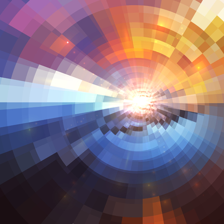 blur: Colorful concentric shining mosaic vector abstract background