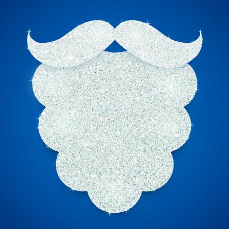 saint nick: Silver glitter vector Santas beard on blue background