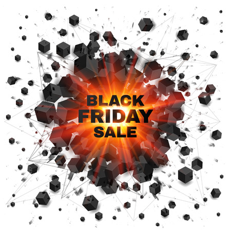 bomb price: Black friday sale abstract shaded cubes vector red explosion