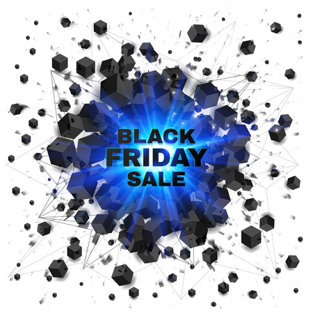 black blue: Black friday sale abstract shaded cubes vector blue explosion